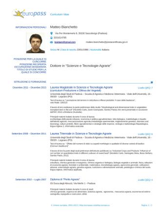 cv Matteo Bianchetto - Ordine dei Dottori agronomi e forestali della