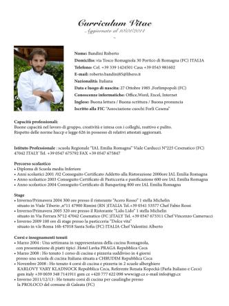 Curriculum Vitae Aggiornato al 10/01/2014