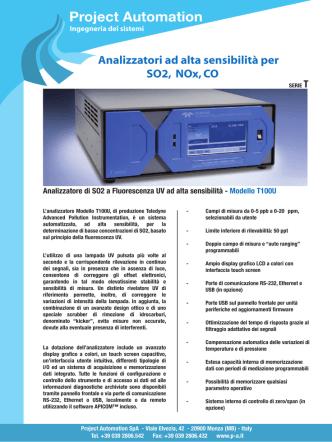 Analizzatori ad alta sensibilità per SO2 NOx CO