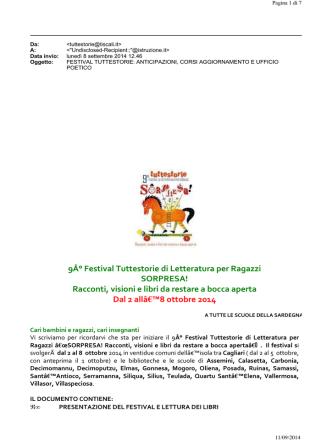 9A° FESTIVAL TUTTESTORIE DI LETTERATURA PER RAGAZZI