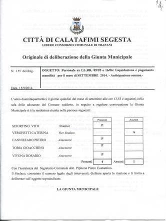 DELIBERA G.M. N. 155 - Comune di Calatafimi Segesta