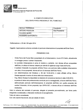 Approvazione schema contratto di permuta imbarcazione