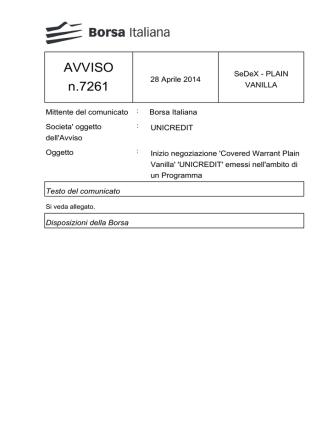 AVVISO n.7261 - Borsa Italiana