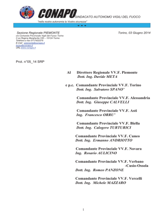Al Direttore Regionale VV.F. Piemonte Dott. Ing. Davide