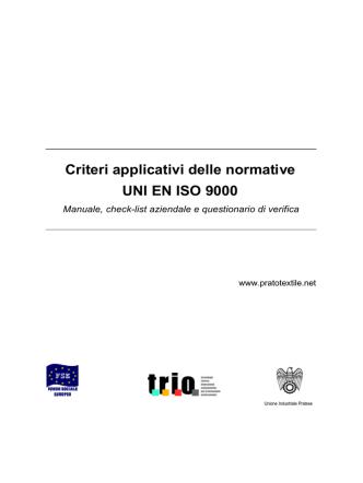 Criteri applicativi delle normative UNI EN ISO 9000