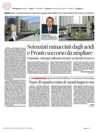 Corriere del Veneto, 17 Settembre 2014