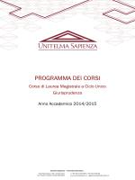 Programma degli insegnamenti LMG01