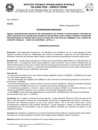 2014-012 Determina distributori automatici aggiudicazione definitiva