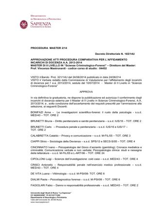 Decreto approvazione atti - Sapienza