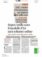2014 09 22 .. F24 OnLine, Nuovi Obbligati dal 1 ottobre .. 24Ore