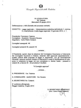 400 - Consiglio regionale della Calabria