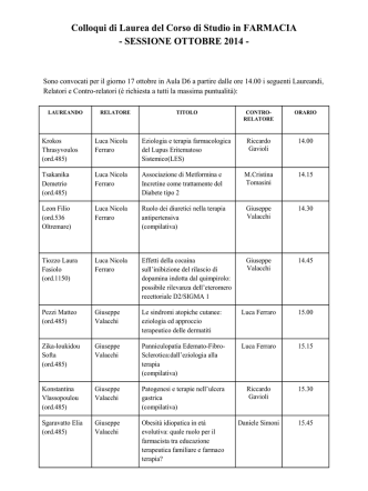 convocazione ufficiale ai colloqui di laurea (17, 20, 21, 22 ottobre)