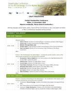 DRAFT PROGRAMME EUSALP Stakeholder Conference Milan, 1