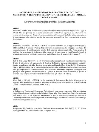 Avviso completo - Cooperazione Italiana allo Sviluppo