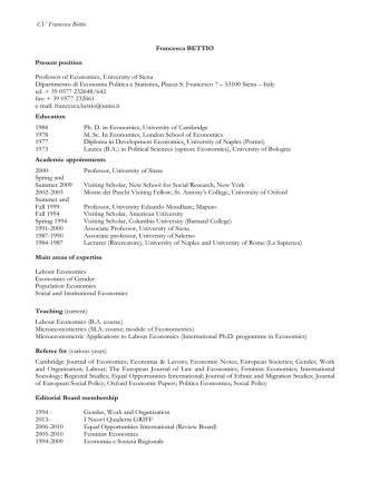 CV and Publications (pdf) - Università degli Studi di Siena
