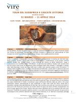 tour del sudafrica e cascate vittoria 31 marzo – 11