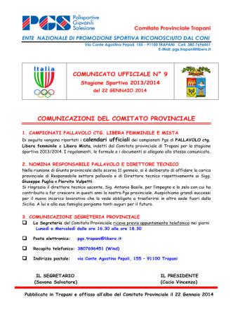 COMUNICAZIONI DEL COMITATO PROVINCIALE