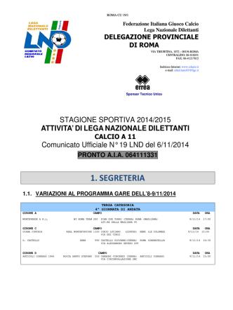 Com. Uff. LND ROMA TER-JUP 06.11.2014