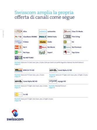 16 luglio 2014, Ancora molti più programmi italiani con Swisscom