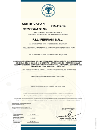 715-112/14 F.LLI FERRIANI S.R.L. CERTIFICATE