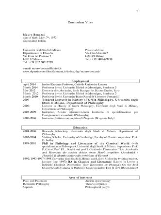 Curriculum Vitae Mauro Bonazzi date of birth: May, 7th, 1973