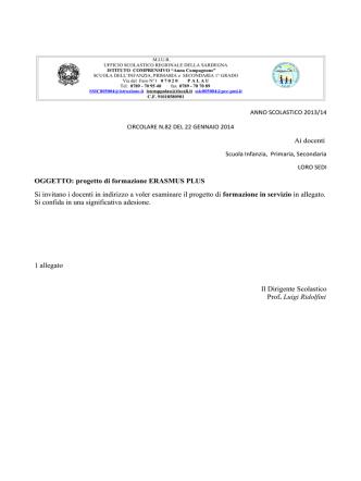 Ai docenti OGGETTO: progetto di formazione ERASMUS PLUS Si