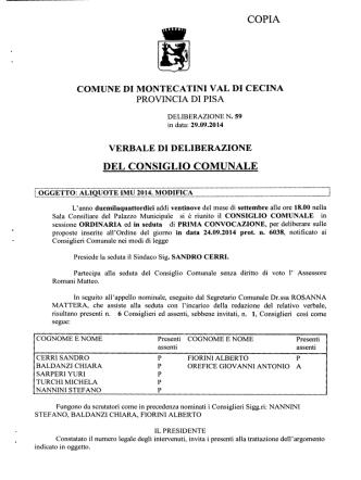 aliquote imu 2014 - Comune di Montecatini Val di Cecina