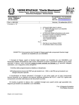 Convocazione dei Consigli di Classe DSA/BES