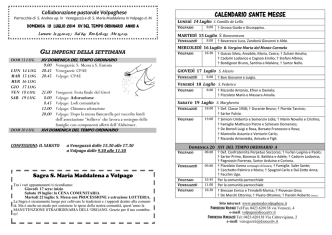 CALENDARIO SANTE MESSE - collaborazione pastorale volpaghese