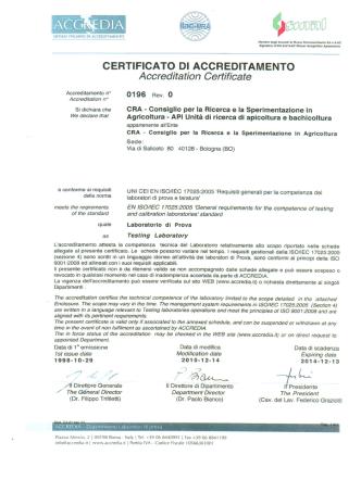 Certificato di accreditamento - CRA-API
