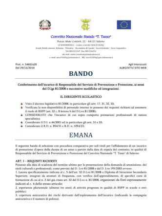 BANDO EMANA - Convitto Nazionale Tasso Salerno