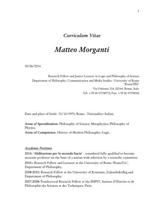 Curriculum Vitae Matteo Morganti