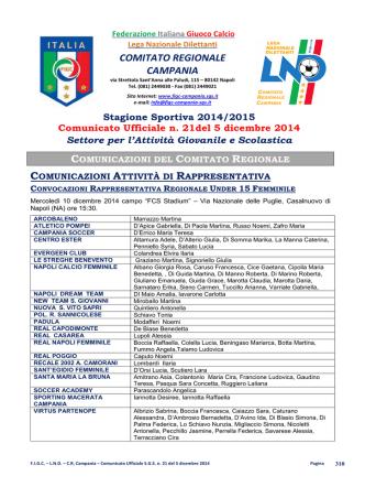 C.U. S.G.S. n. 21 del 5.12.2014