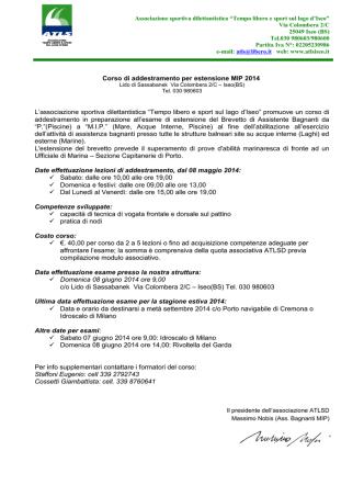 Corso di addestramento per estensione MIP 2014 L