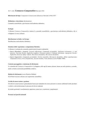 30.7.1 Centaureo-Campanulion - prodromo della vegetazione d