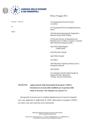 Agenzia Dogane – Note – 10186