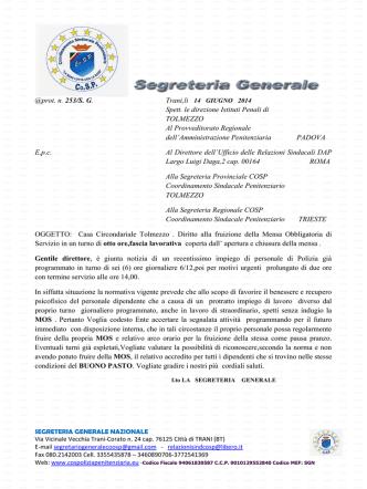 14.6.2014 c.c. tolmezzo diritto fruizione mensa obbligatoria