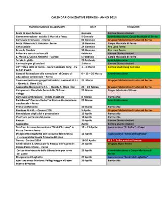 calendario iniziative delle associazioni fernesi