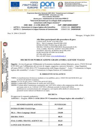 Decreto di pubblicazione graduatoria agenzie viaggi