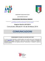 Comunicato Ufficiale n° 40 del 06.03.2014