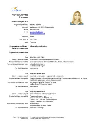 CV-Gavina-Baralla - Università degli studi di Cagliari.