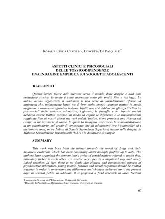 aspetti clinici e psicosociali delle tossicodipendenze una indagine