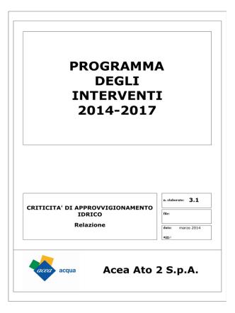 Acea Ato 2 SpA PROGRAMMA DEGLI INTERVENTI 2014-2017