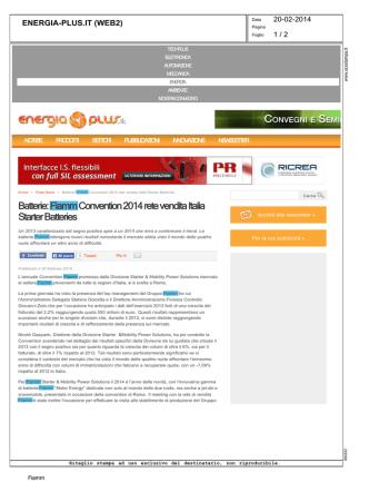 Batterie: Fiamm Convention 2014 rete vendita Italia Starter Batteries