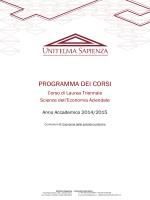 Programma degli insegnamenti CLEA Curriculum B