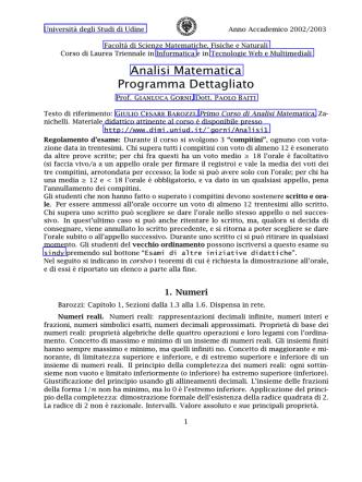 Course Program - Dipartimento di Matematica e Informatica