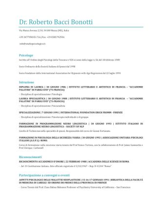 Curriculum - Studio Psicologico