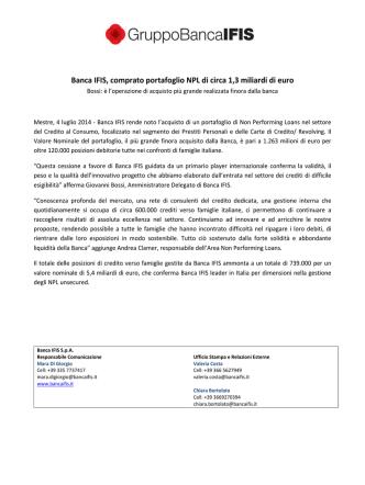 Banca IFIS, comprato portafoglio NPL di circa 1,3 miliardi di euro