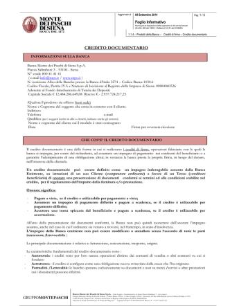CREDITO DOCUMENTARIO - Banca Monte dei Paschi di Siena