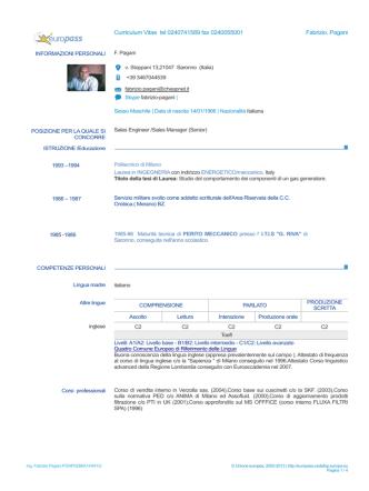 Curriculum Vitae tel 0240741589 fax 0240055001